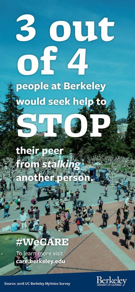 3 out of 4 people at Berkeley would seek help to STOP their peer from stalking another person.