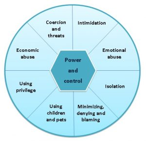 Tactics of power and control include economic abuse, coercion and threats, intimidation, emotional abuse, isolation, minimizing, denying and blaming, using children and pets, and using privilege.